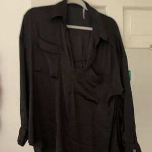 Free People Black LongSleeve flowy blouse Sz Sm